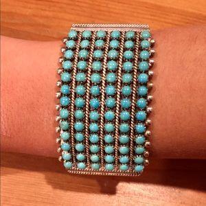 Jewelry - Silver Zuni turquoise cuff bracelet signed